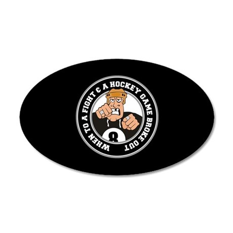 Funny Hockey Player 20x12 Oval Wall Decal