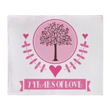 7th Anniversary Love Tree Throw Blanket