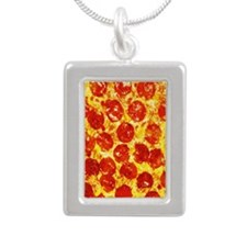 Pizzatime Silver Portrait Necklace