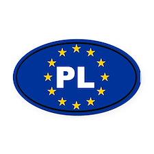 Poland European Union Oval Car Magnet