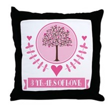 3rd Anniversary Love Tree Throw Pillow