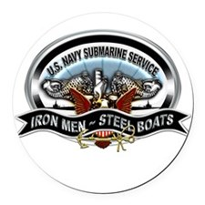 USN Sub Service Iron Steel Round Car Magnet