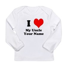 I Heart My Uncle (Your Name) Long Sleeve T-Shirt