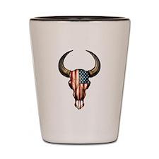 American Flag Bull Skull Shot Glass