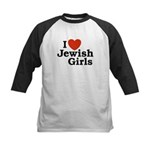 I Love Jewish girls Kids Baseball Jersey