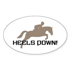 heels down hunter Oval Decal