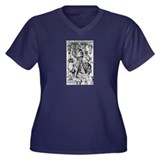 Illustration Women's Plus Size V-Neck Dark T-Shirt