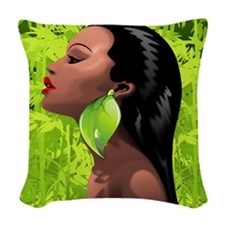 Woman African Beauty and Bamboo Woven Throw Pillow