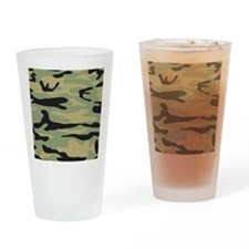 Green Army Camo Drinking Glass