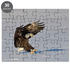 Eagle landing in snow Puzzle