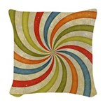 Psychedelic Retro Swirl Woven Throw Pillow