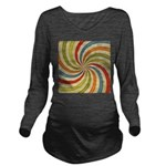 Psychedelic Retro Swirl Long Sleeve Maternity T-Sh