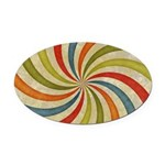 Psychedelic Retro Swirl Oval Car Magnet