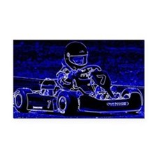 Kart Racer in Blue Rectangle Car Magnet