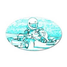 Kart Racer Teal and White Wall Decal