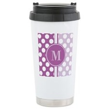 Lilac Monogram Polka Do Travel Mug