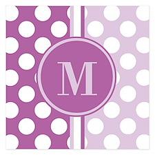Lilac Monogram Polka Dots Invitations