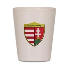 Hungary Metallic Shield Shot Glass