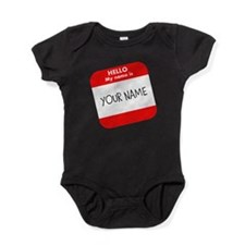 Custom Red Name Tag Baby Bodysuit
