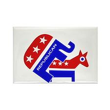 GOP Elephant Humping Donkey Rectangle Magnet