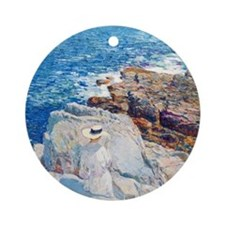 The South Ledges, Appledore by Chil Round Ornament