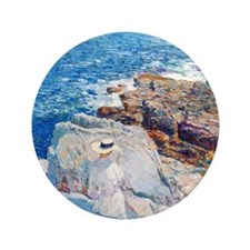 """The South Ledges, Appledore by Childe  3.5"""" Button"""