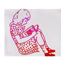Girl in a dress, reading Throw Blanket