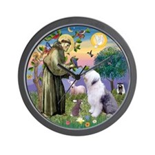 St. Francis and Old English Sheepdog Wall Clock