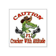 """Cracker With Attitude Square Sticker 3"""" x 3"""""""