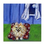 Happy Pomeranian Tile Coaster