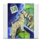 SOFT COATED WHEATEN TERRIER at window Tile Coaster