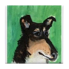 smooth collie portrait Tile Coaster