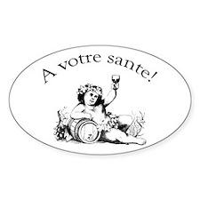 French Toast Wine Oval Sticker