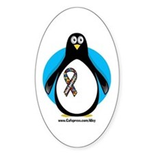 Autism Penguin Oval Decal
