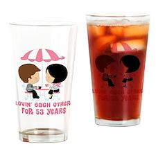 53rd Anniversary Paris Couple Drinking Glass