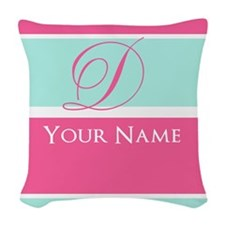 Pink and Teal Monogram Customized Woven Throw Pill