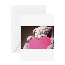 big teddybear with pink hearth Greeting Cards