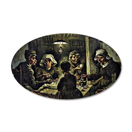 Van Gogh - The Potato Eaters 35x21 Oval Wall Decal