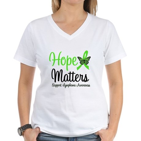 Hope Matters Lymphoma Women's V-Neck T-Shirt