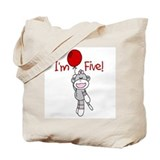 Sock Monkey 5th Birthday Tote Bag