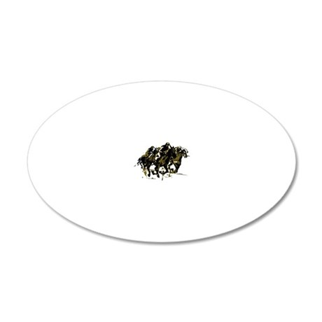 Horse racing 20x12 Oval Wall Decal