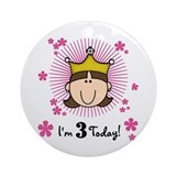 Princess 3rd Birthday(brown) Ornament (Round)
