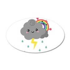 Kawaii Rainbow Behind Every Dark Cloud Wall Decal