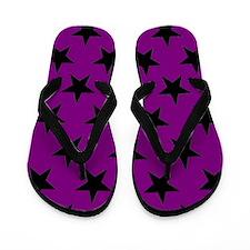 Black Stars On Purple Flip Flops