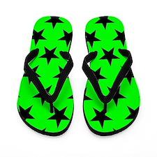 Black Stars On Green Flip Flops