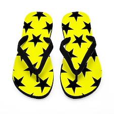Black Stars On Yellow Flip Flops