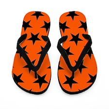 Black Stars On Orange Flip Flops