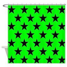 Black Stars On Green Shower Curtain