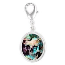 beautiful skull Silver Oval Charm