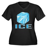 ICE Women's Plus Size V-Neck Dark T-Shirt